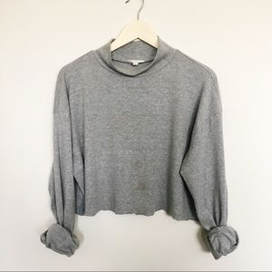 Madewell Sweaters - Mock Neck Raw Hem Grey Sweater
